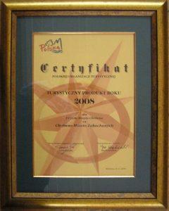 Certyfikat Polskiej Organizacji Turystycznej dla Najlepszego Produktu Turystycznego Polski 2008 roku za Chełmno – miasto zakochanych
