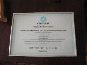 Certyfikat udziału w akcji Przejrzysta Polska
