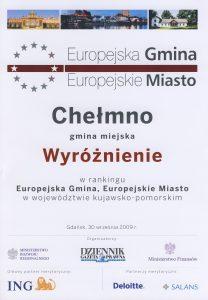 """Wyróżnienie w rankingu """"Europejska Gmina. Europejskie Miasto 2009"""""""