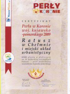 """Certyfikat """"Perły w Koronie 2009"""""""