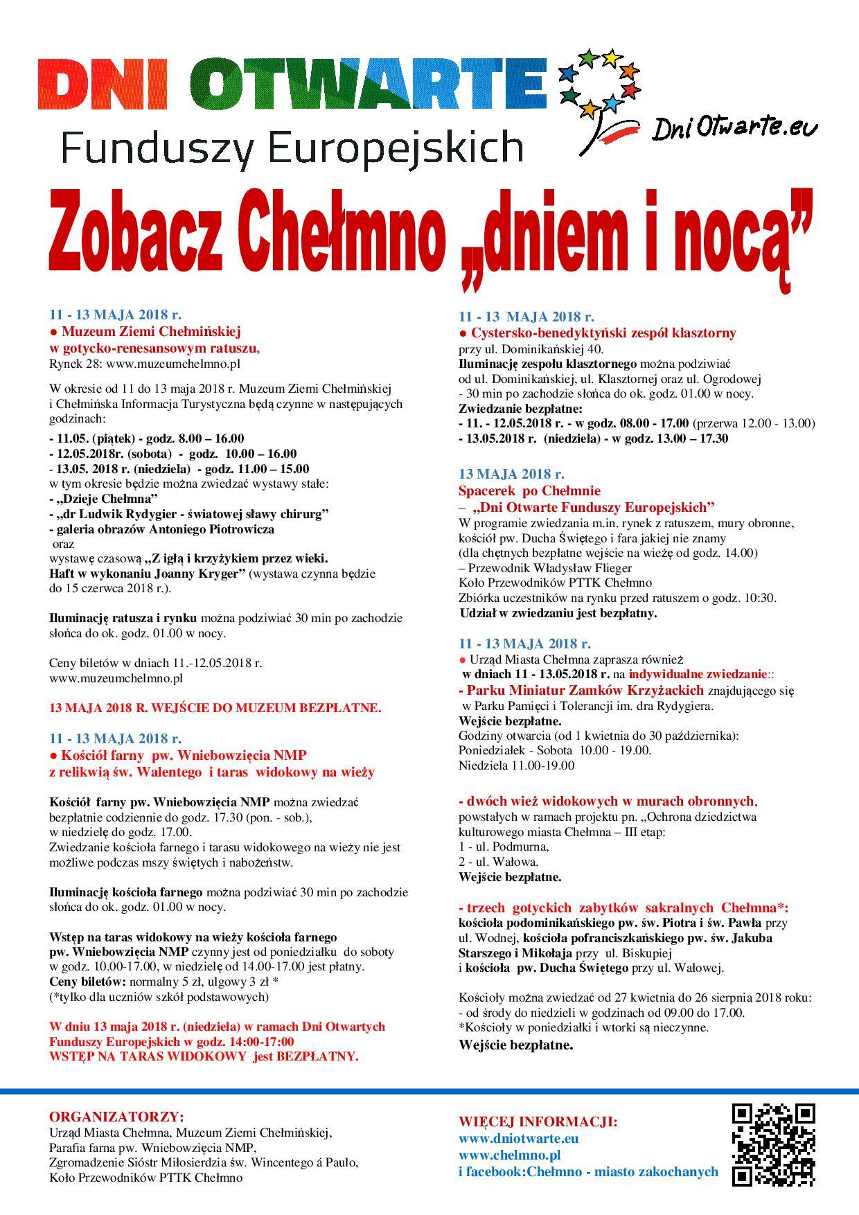 Plakat Zobacz Chelmno Dniem I Noca 11 13 05 2018 Ost
