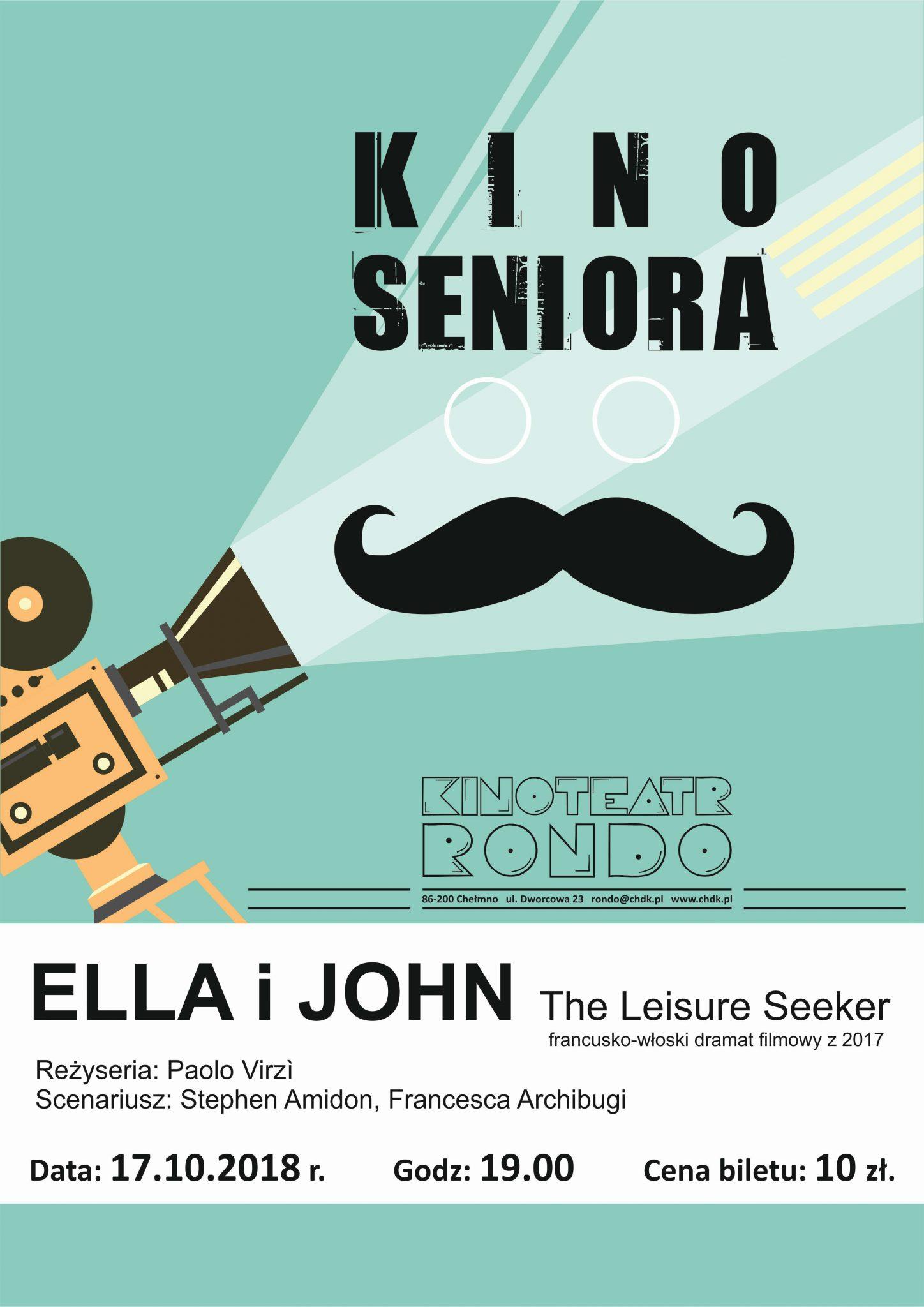 Kinoteatr Rondo w Chełmnie zaprasza na film pt. Ella i Johnw ramach Kina dla seniora, pierwszy seans 17 października 2018 roku.