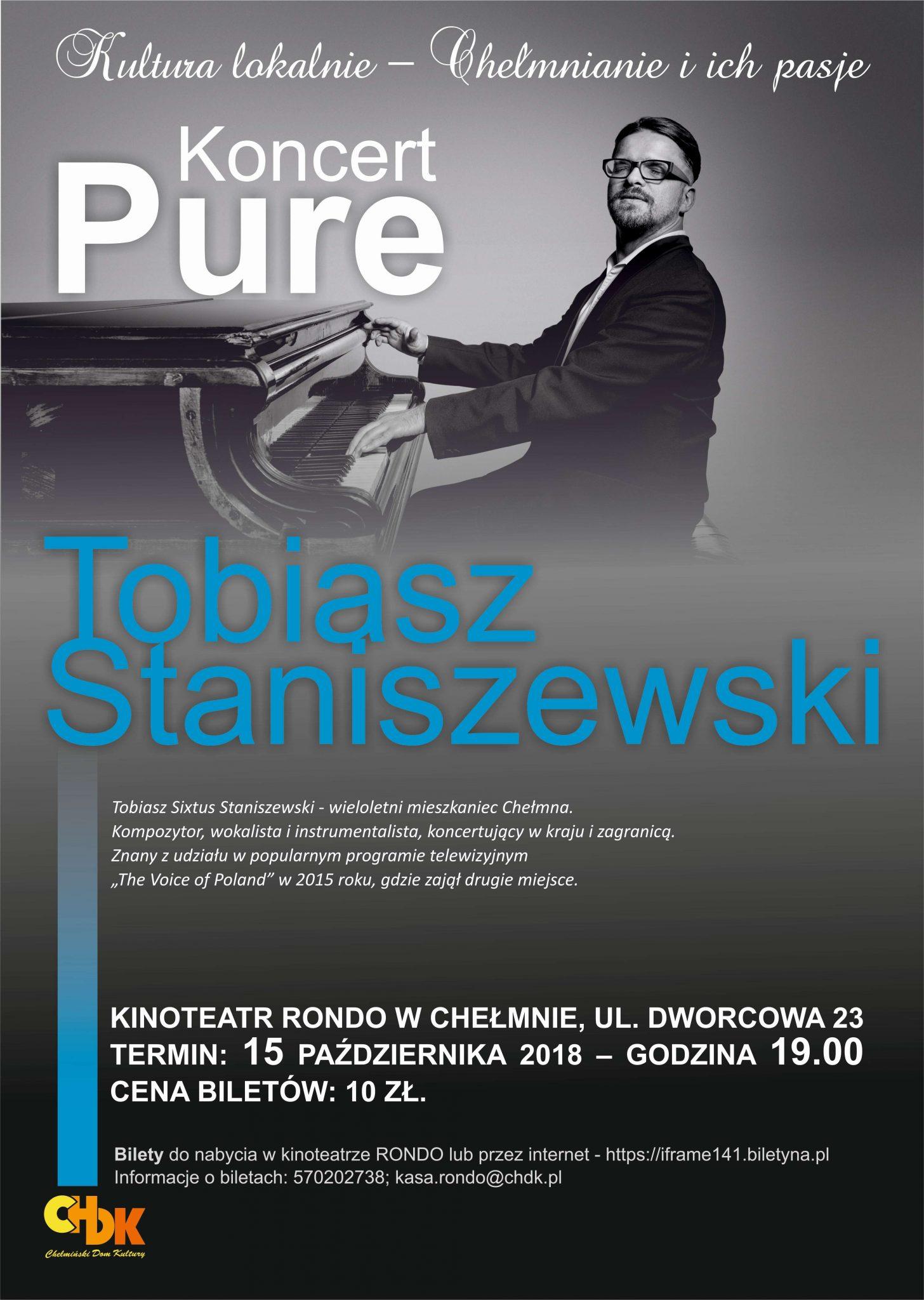 """Zapraszamy na koncert """"Pure"""" w wykonaniu Tobiasza Staniszewskiego w ramach cyklu spotkań """"Kultura lokalnie - Chełmnianie i ich pasje"""", 15 października 2018 roku."""