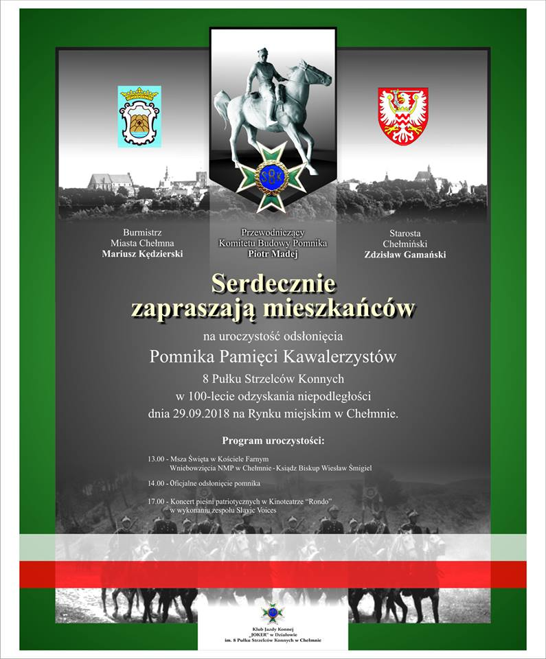 Uroczystość odsłonięcia Pomnika Pamięci Kawalerzystów 8 Pułku Strzelców Konnych w 100-Lecie odzyskania niepodległości, 29 września 2018