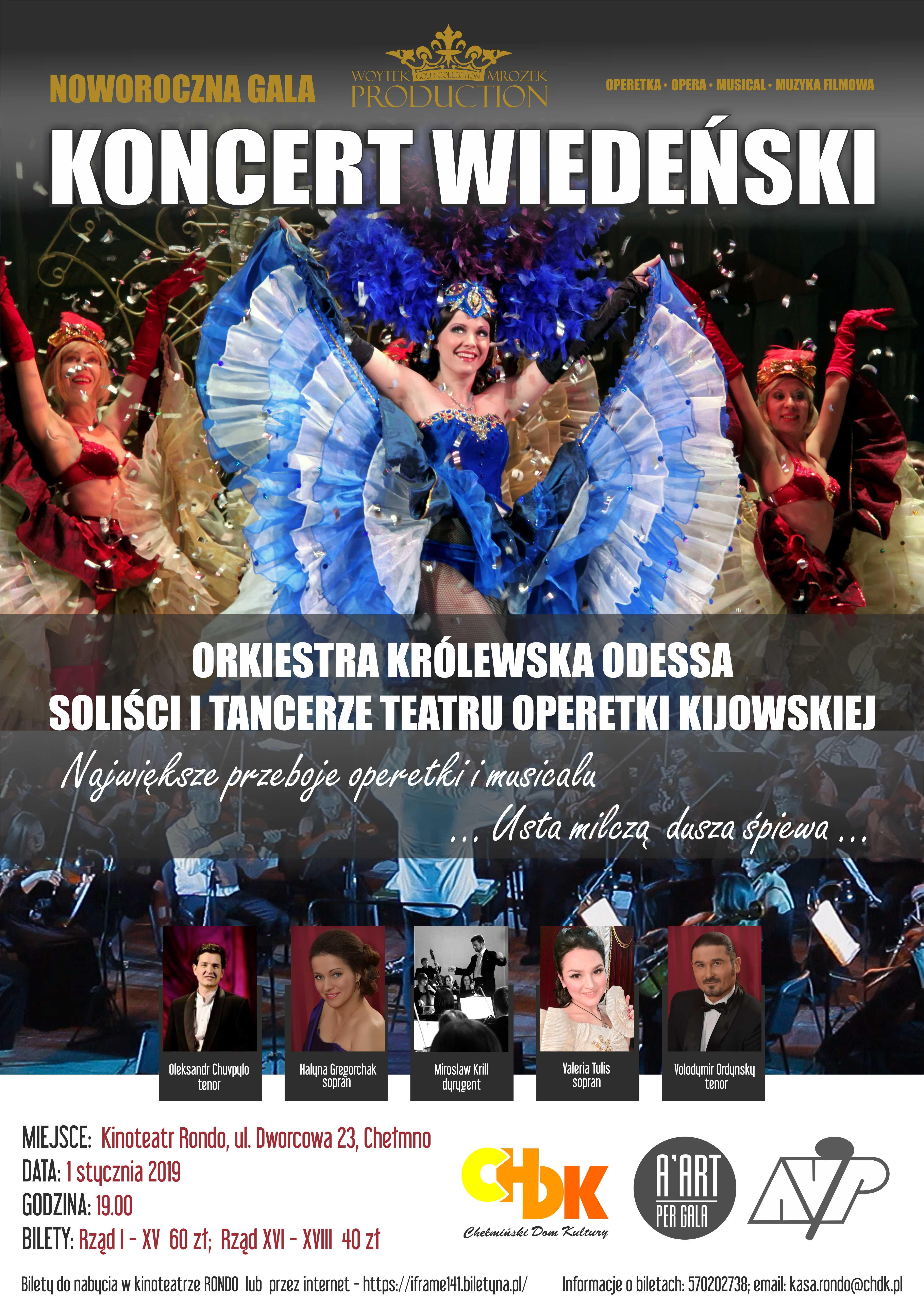 """Wiedeńska Gala Noworoczna 2019 w wykonaniu Orkiestry Królewskiej """"Odessa"""" wraz z Solistami i Tancerzami Narodowej Operetki w Kijowie"""