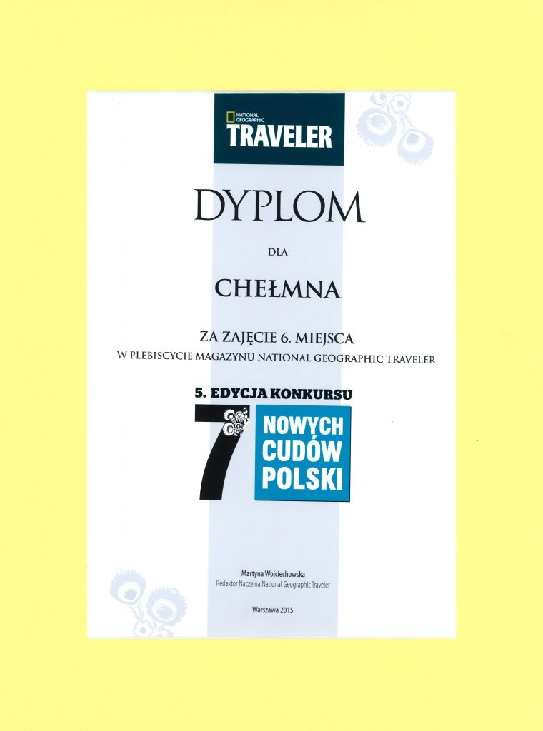 """Certyfikat dla Chełmna - jednego z """"7 nowych Cudów Polski"""", 16.10.2015 r."""