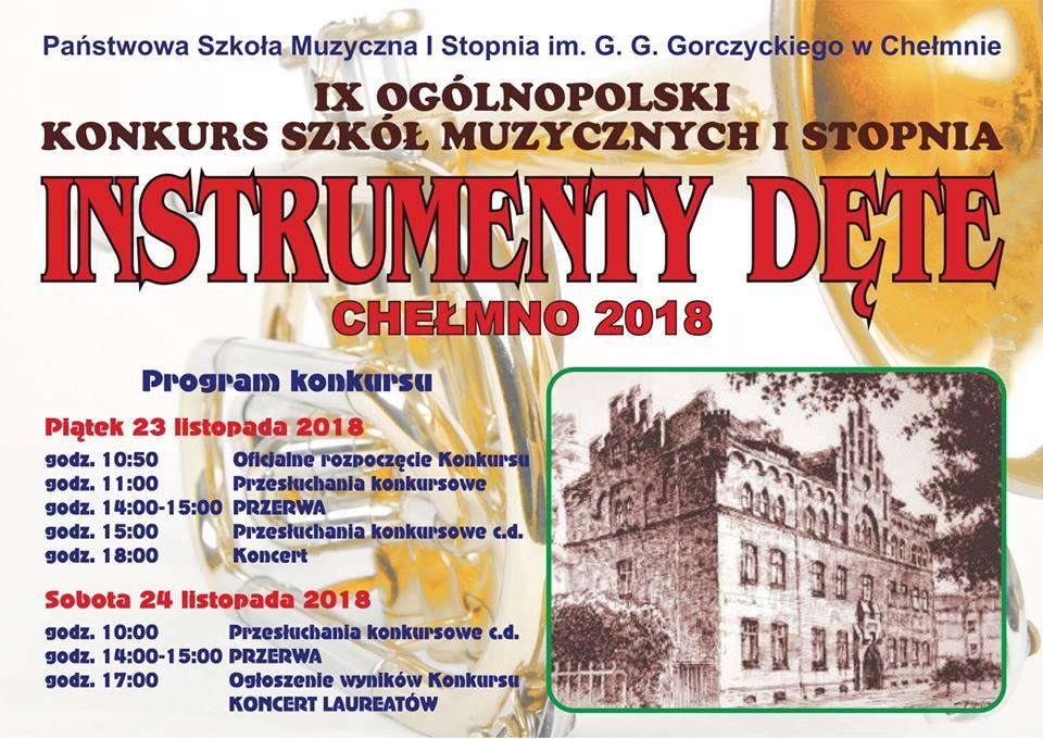 IX Ogólnopolski Konkurs Szkół Muzycznych I stopnia - Instrumenty Dęte, 23/24 listopada 2018 r.