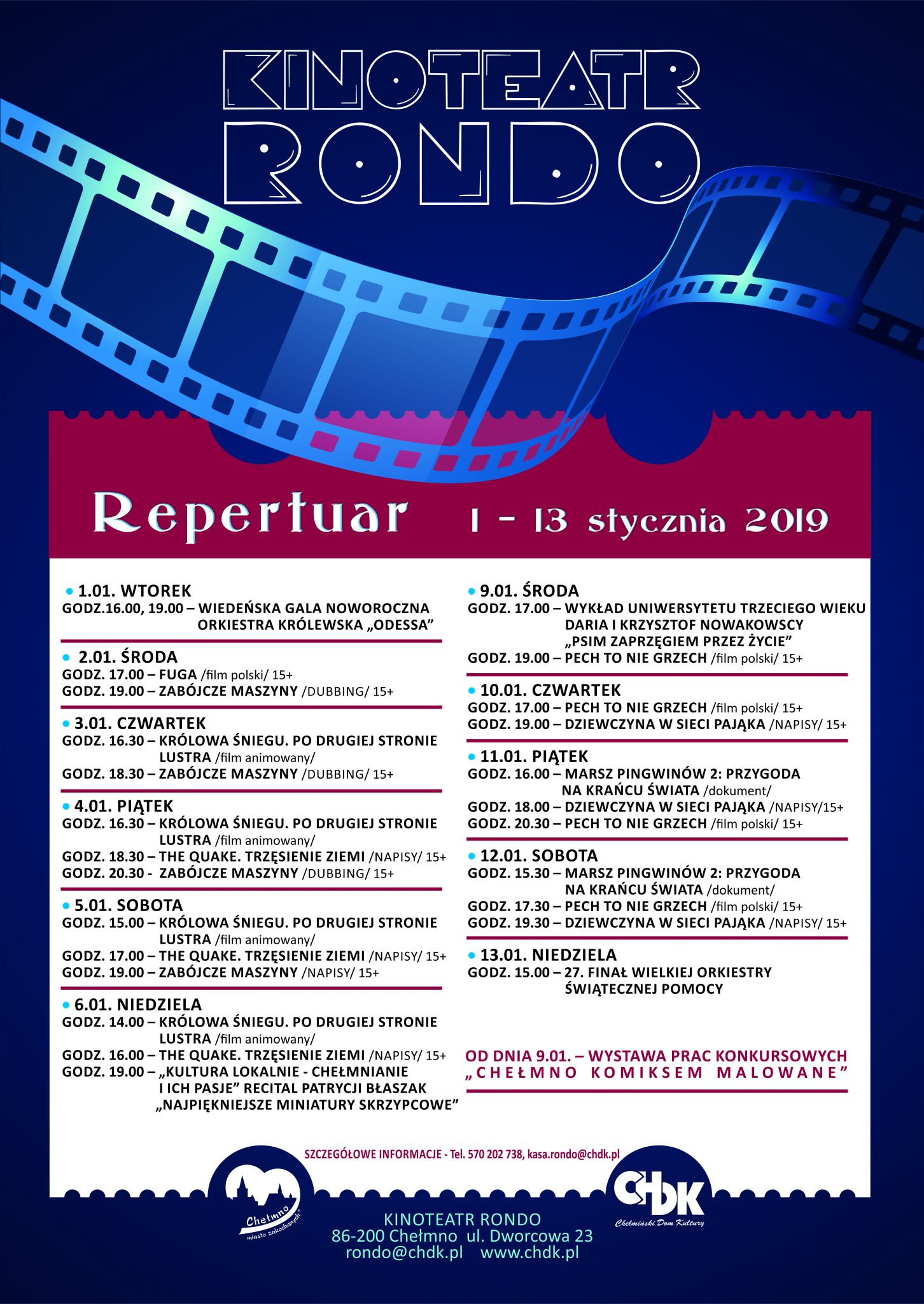 Wydarzenia i repertuar Kinoteatru RONDO, 1-13 stycznia 2019 r.
