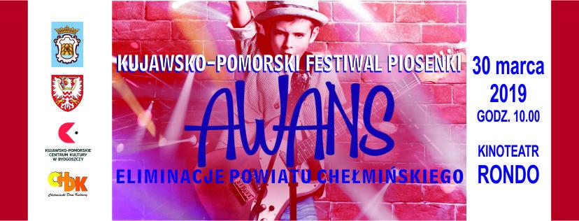 """Zapraszamy dzieci i młodzież z terenu powiatu chełmińskiego do udziału w elimanacjach 25 KUJAWSKO-POMORSKIEGO FESTIWALU PIOSENKI """"AWANS'19"""" Festiwal skierowany jest do młodych artystów solistów, duetów i zespołów wokalnych (festiwal nie dotyczy chórów).Uczestnicy zaprezentują się w trzech grupach wiekowych: 7-9 lat, 10-13 lat oraz 14-16 lat. Celem Festiwalu jestprezentacja dorobku artystycznego solistów i dziecięcych zespołów wokalnych, promocja dziecięcej twórczości muzycznej, wyłonienie utalentowanych wykonawców przez stworzenie możliwości wszechstronnego prezentowania ich uzdolnień, pomoc w podnoszeniu umiejętności artystycznych. Jury szczególną uwagę zwróci na warunki głosowe, muzykalność, dobór repertuaru, dykcję, interpretację oraz ogólny wyraz artystyczny. Koszty związane z przygotowaniem do prezentacji, przyjazdem i pobytem oraz ubezpieczeniem pokrywają uczestnicy lub sponsorujące instytucje. Opłata akredytacyjna dotyczy koncertu finałowego. Festiwal odbędzie się 30 marca 2019 roku godz. 10.00 w Kinoteatrze RONDO w Chełmnie, ul. Dworcowa 23. Informacje szczegółowe, regulamin i karta zgłoszenia do pobrania: : http://www.kpck.pl/25-kujawsko-pomorski-festiwal-piosenki-awans19-rozpoczynamy-eliminacje/ Zgłoszenia przygotowane według wzoru należy kierować na adres organizatora eliminacji: Chełmiński Dom Kultury, ul. Dworcowa 40a, 86-200 Chełmno do dnia 15 marca 2019 roku. Prosimy o załączeniezgody na przetwarzanie danych osobowych – jej brak uniemożliwia udział w festiwalu. Informacje szczegółowe: Janusz Napora, Chełmiński Dom Kultury – 566864808, e-mail: dyrektor@chdk.pl"""