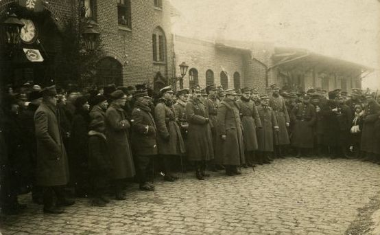 Powitanie gen. Józefa Hallera na dworcu PKP w Chełmnie 29 stycznia 1920 r., fot. Carl Eller, zbiory Muzeum Ziemi Chełmińskiej w Chełmnie